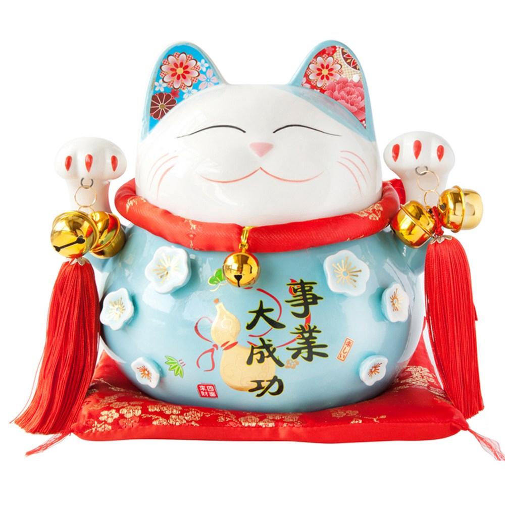 六福臨門 9吋 招財貓 藍色