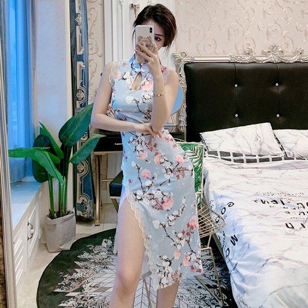 SISI【D20006】中國風典雅性感顯瘦牡丹櫻花印花爆乳無袖開衩包臀蕾絲改良式旗袍中長款連身裙洋裝cosplay角色扮演