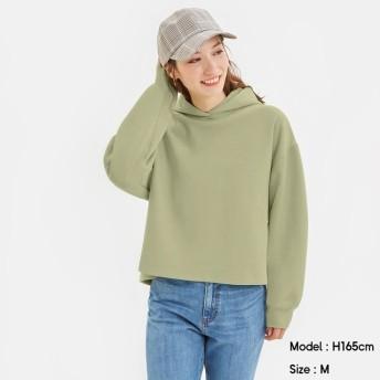 (GU)クロップドスウェットプルパーカ(長袖) GREEN XL