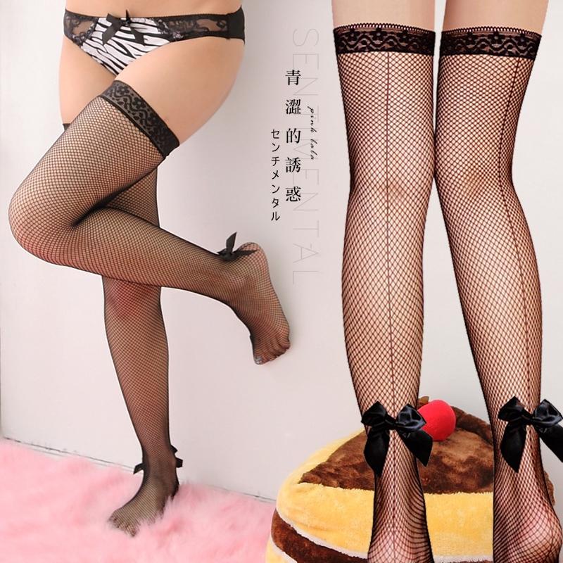 粉紅拉拉【PBN2035】性感彈性網襪 蕾絲大腿襪 派對必備 激情夜晚 蝴蝶結網襪 美腿的誘惑