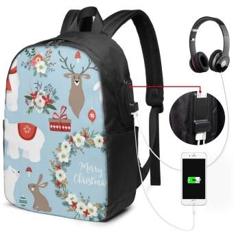 メリークリスマスサンタクロースレトロ リュック バックパック 大容量 PC リュックサック 軽量 メンズ レディース 兼用 多機能 バッグ 通勤 修学 学生 旅行 アウトドア USBポート&イヤホンポート搭載 カバン
