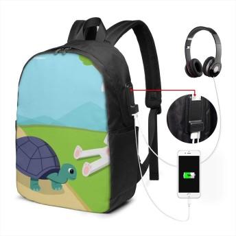 ウサギと亀のレース リュック バックパック 大容量 PC リュックサック 軽量 メンズ レディース 兼用 多機能 バッグ 通勤 修学 学生 旅行 アウトドア USBポート&イヤホンポート搭載 カバン