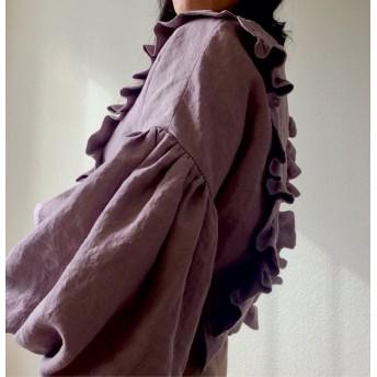 【送料無料】 あなただけの一着に育つ服 ◇ イタリアンリネン フリル ボリュームスリーブ ビッグスリーブ ブラウス