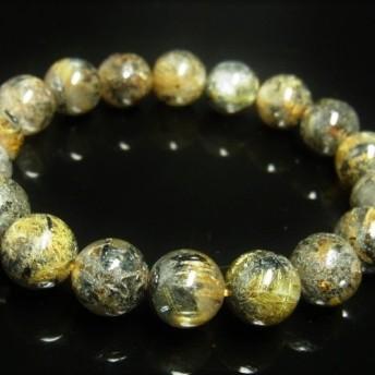 イチオシ 現品一点物 太陽放射ルチル ブレスレット 金針水晶数珠 11 12ミリ 43g THR22 ヘマタイト