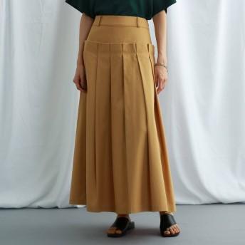 ジェット ニューヨーク JET NEWYORK 【ウォッシャブル】コットンタックデザイン ロングスカート (キャメル)