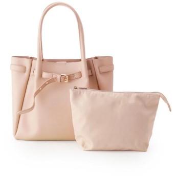 pink adobe(ピンクアドベ) ベルト飾りポーチ付A4トートバッグ