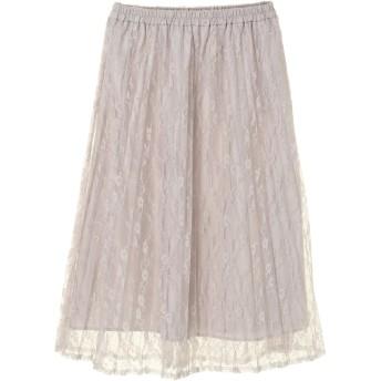 【6,000円(税込)以上のお買物で全国送料無料。】<WEB限定大きな・小さなサイズ>花柄レースプリーツスカート