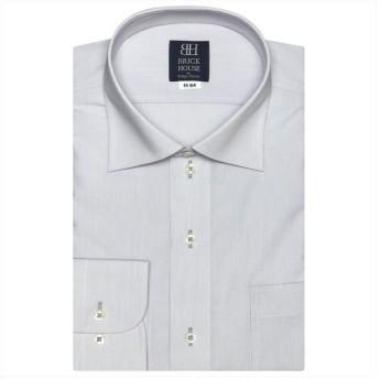 トーキョーシャツ ワイシャツ 長袖 形態安定 ワイド グレー×無地調 標準体 メンズ クロ・グレー LL-82 【TOKYO SHIRTS】