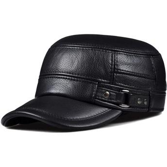 JPIUE 帽子冬の男性の帽子レザーフラットトップ軍事キャップ中年や高齢者暖かいイヤーマフ屋外コットン牛革舌防風帽子秋と冬のファッションワイルドハットアジャスタブル (Color : Black, サイズ : XL)