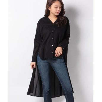 マーコート V neck front short shirt レディース BLACK f 【MARcourt】