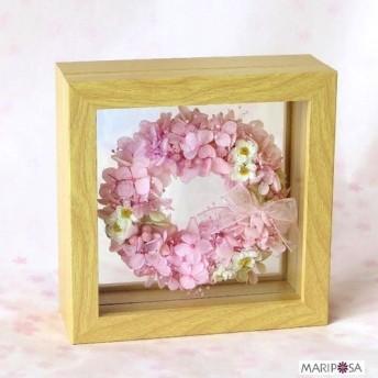 ひめ桜のリース 2020'新花手作り花かんざしのプレミアム桜リース ガラスの中のフラワー額縁アート 無料ラッピング