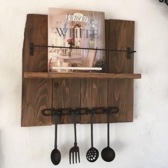 天然古材使用 アンティークウォールシェルフ 木製 アイアン キッチン棚 ブラウン