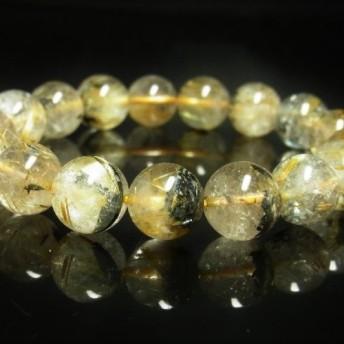 現品一点物 太陽放射ルチル ブレスレット 金針水晶数珠 12ミリ 46g THR23 シラー入り レインボー ヘマタイト