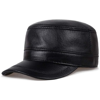 JPIUE 春と秋の薄い皮の帽子中年カジュアルシープスキンハットフラットトップ軍事キャップ若者シングルキャップアウトドアスポーツアジャスタブルハットメンズヴィンテージスタイルレザーキャップ (Color : Black, サイズ : XL)