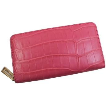 クロコダイル 長財布 ヘンローン社製 ラウンドファスナー ゴールド金具 ピンク