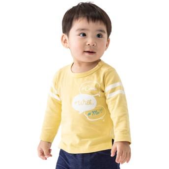 [ベビー]シンプルフリー Tシャツ 長袖 アップリケ イエロー ベビー・キッズウェア ベビー(70~95cm) トップス(男児) (110)