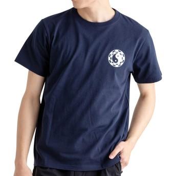 T&C Tシャツ メンズ 半袖 綿100% プリント ネイビー LL
