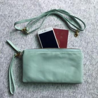 ◆在庫一掃セール◆18,900円→9,450円訳あり大幅値下げ これ一つでお出かけ本革 お財布バッグ ペールグリーン