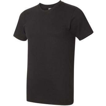 (アメリカン・アパレル) American Apparel メンズ ファインジャージー Tシャツ 半袖 カジュアル トップス (L) (ブラック)
