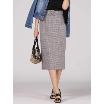 (ビッキー) VICKY 【WEB別注】ベルト付きチェックタイトスカート 231191704 M レッド