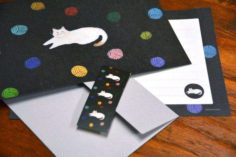 它是PEPOTARO的原始插圖。信封敢於簡單!一個簡單的信封裡出現了一隻可愛的貓。推薦的字母套裝色彩鮮豔但不太甜。