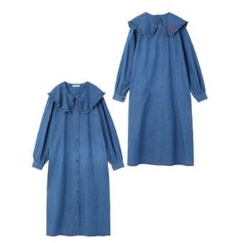 【MILKFED.:ワンピース】RUFFLE COLLAR DENIM SHIRT DRESS