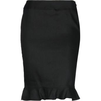 《セール開催中》BLUE LES COPAINS レディース ひざ丈スカート ブラック 42 麻 64% / レーヨン 33% / ポリウレタン 3%