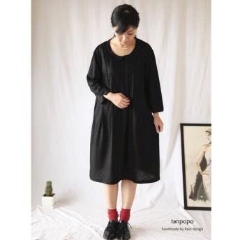 【Rain*卒園式/入学式フォーマル】黒色リネン混/丸襟プーリツ*ワンピLYQ48