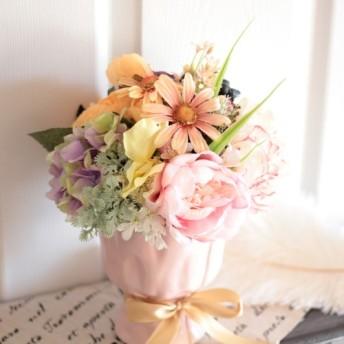 春いっぱい詰め込んだパステルブーケ【花器付き】