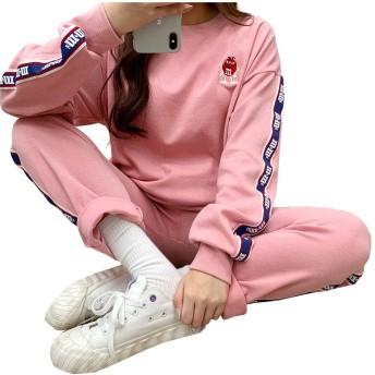 Bullang レディース 甘いチョコレー トトレーニング 上下 セット SET 韓国ファッション (ピンク)