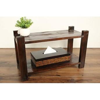 原木ラック 2段 飾り棚 ディスプレイラック オープンシェルフ ウッド 木製 収納棚 インテリア アジアン家具