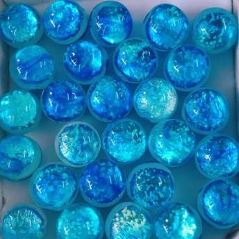 ミヤコブルー 10mm 10個セット 蓄光 ホタルガラス 沖縄とんぼガラス とんぼ玉 夜光タイプ