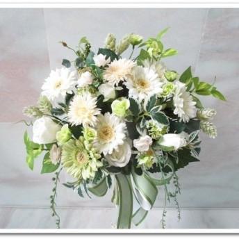 格安◆アートフラワー造花◆豪華カサブランカ&ローズのクラッチブーケ 花束アレンジウエディングブーケ インテリアにも