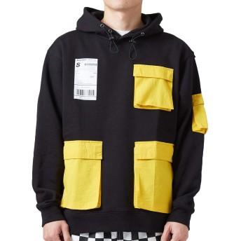 Sequence B ONE SOUL パーカー メンズ スウェット クレイジー ポケット 長袖 プリント ゆったり 大きいサイズ ドロップショルダー バックプリント ブラック M サイズ