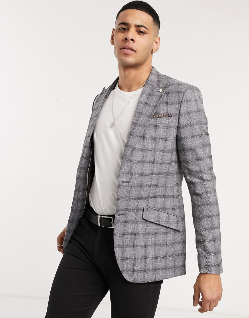 Burton Menswear slim blazer in grey check