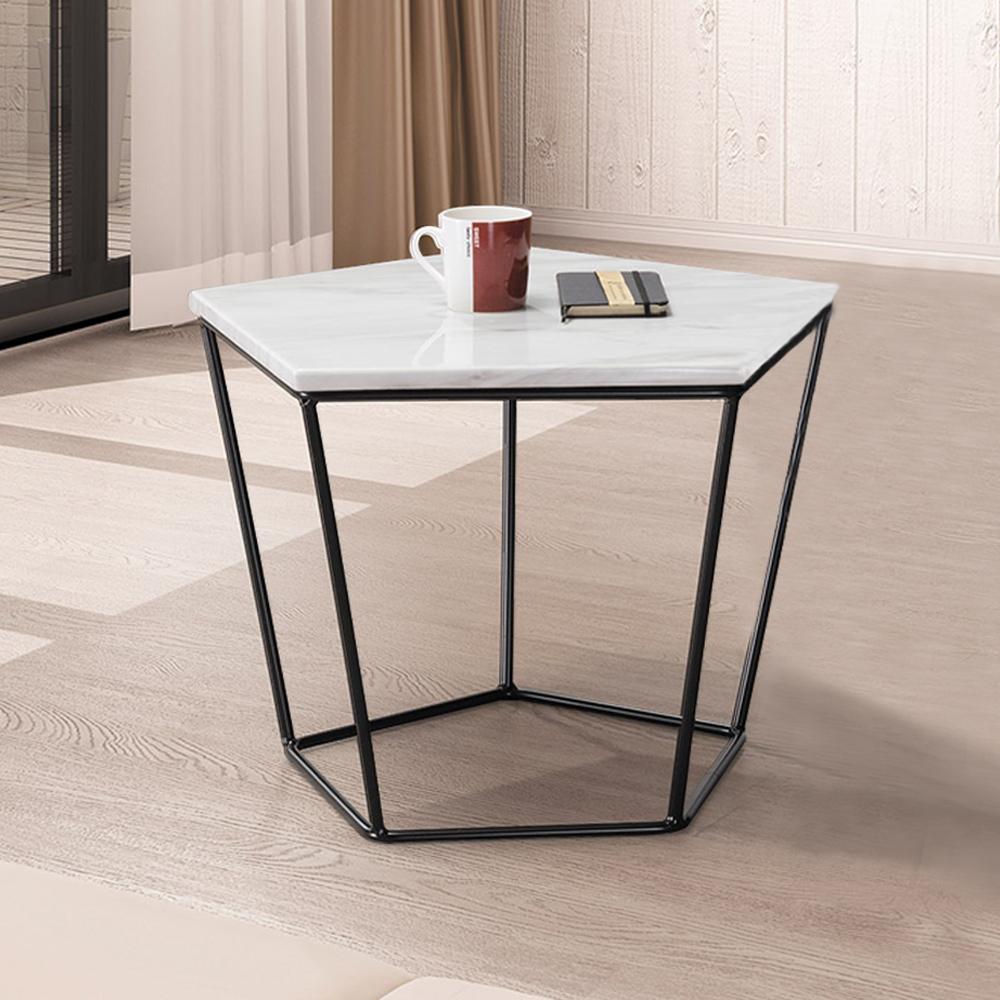 Boden-菲斯1.8尺石面五角小茶几/邊桌-白色
