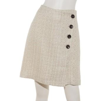 【スカート】フロント釦ツイード台形スカート