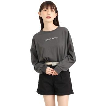 トップス レディース Tシャツ 長袖 ディズニー ミッキー 春 春 Honeys ハニーズ Tシャツ(ミッキー) 540011609752 スミクロ L