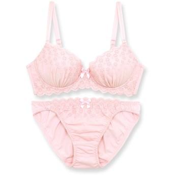 [フランデランジェリー] [fran de lingerie] Cotton Dragee コットンドラジェ ブラジャーショーツセット A65-G75カップ ピンク A65