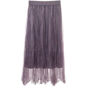 【スカート】ランダムプリーツオーガンジースカート