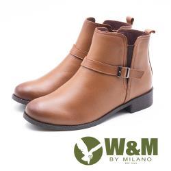 W&M 簡約素面小釦飾 拉鍊短靴 女鞋 - 淺咖 (另有 黑)