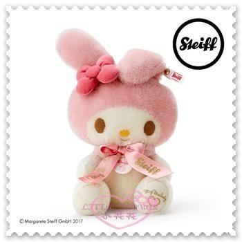 ♥小花花日本精品♥ Melody x Steiff 聯名合作 聯名娃娃 布偶 坐姿 粉色 全球限量版 99800109