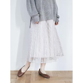 【6,000円(税込)以上のお買物で全国送料無料。】<13・17・21号>花柄レースプリーツスカート