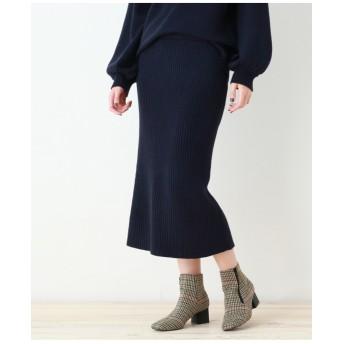 ◆【洗える】ミディ丈リブニットナロースカート