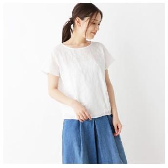 【ピンクアドベ/pink adobe】 【裾タックデザイン】シアーサッカー ブラウス