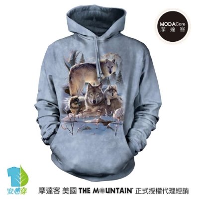 摩達客 美國The Mountain 雪狼家族    環保藝術長袖連帽T恤