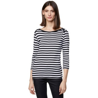 BENETTON (women) コットンボートネックボーダー7分袖Tシャツ・カットソー(ブラック)