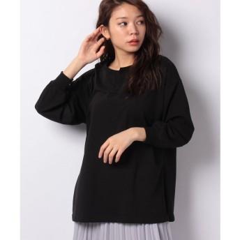 Lilou de chouchou ピーチ天竺無地キーネックTシャツ(ブラック)