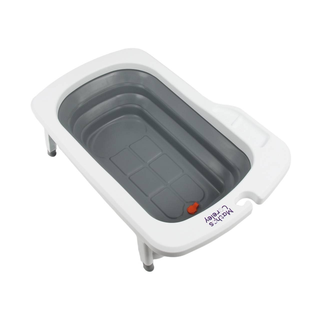 【淘氣寶寶】韓國 Mathos Loreley 萱之愛 強化折疊式浴盆 灰色【折疊不佔空間,可感應溫度,寶貝旅行洗澡神器/耐重90kg】