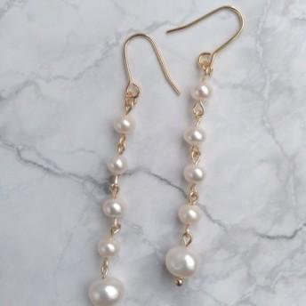 5連淡水パールのピアス/イヤリング ; 5-freshwater pearl earring